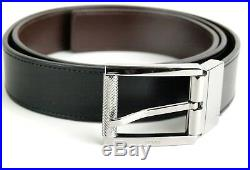100% Auth GUCCI Mens Black Leather Squared Buckle Formal Belt 90cm 36 inch