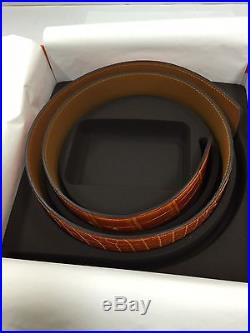 100% Authentic Hermes Belt Strap 42mm Crocodile 93 Orange Size80(without buckle)