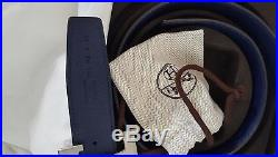 100% Authentic Hermes H buckle silver blue withreversible black mens belt size 95