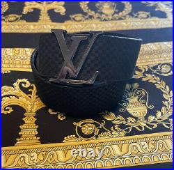 100% Authentic Louis Vuitton Damier Belt Suede And Leather LV Logo