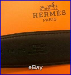 $1050 NWT Hermes Men's Leather Belt with hand-hammered H Buckle in Box 110cm