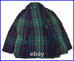$1495 Polo Ralph Lauren Mens Wool Belted Pea Coat Jacket Green Navy Red Plaid XL