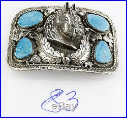 1970's Navajo IMC Signed Turquoise Horse Head Large Men's Belt Buckle