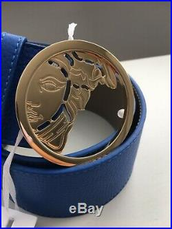 £250 VERSACE Medusa Head Buckle Leather Blue & Gold Belt Made in Italy