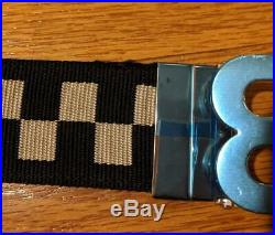 $295 Authentic Mens Bally B Buckle Reversible Checked/Leather Belt Black US 34