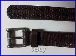 $295 NEW GUCCI Mens Perforated Brown Leather Logo Buckle Dress Belt 44 IN 110 CM