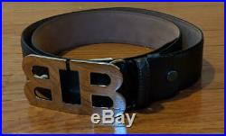 $350 Mens Bally Mirror Double B Buckle Carbon Leather Belt Dark Gray 110 US 44