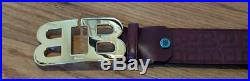 $350 Mens Bally Mirror Double B Buckle Leather Belt Dark Red 110 US 44