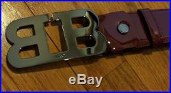 $350 Mens Bally Mirror Double B Buckle Patent Leather Dark Red 110 US 44
