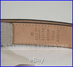 $395 AUTH NEW GUCCI BELT 368193 MENS GREY SUEDE LEATHER SQUARE BUCKLE sz 100 /40