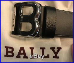 450$ Bally Mens Black Leather Belt Size 110/44 Made in Italy
