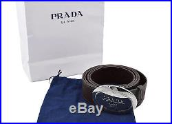 $460 PRADA Brown SAFFIANO Leather Belt Round Silver Logo Buckle NEW COLLECTION