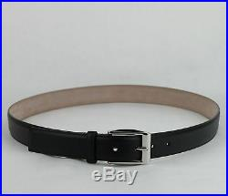$465 New Gucci Men's Black Leather Belt With Silver Buckle 120/48 336831 1000