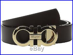 $480 Salvatore Ferragamo Mens Gold Buckle Black Brown Leather Italy Belt Size 34