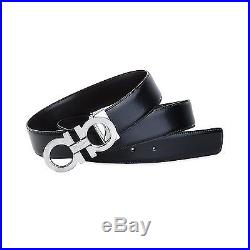 $480 Salvatore Ferragamo Mens Silver Buckle Black Brown Leather Italy Belt 34
