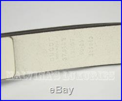 $495 Mens Gucci Belt 375182 White Crossed Feathers Logo Buckle Gold 95 38