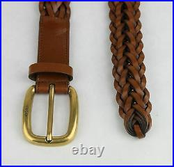 $495 New Gucci Light Brown Braided Leather Belt withgold Buckle 85/34 380606 2535
