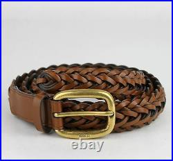 $495 New Gucci Light Brown Braided Leather Belt withgold Buckle 90/36 380606 2535