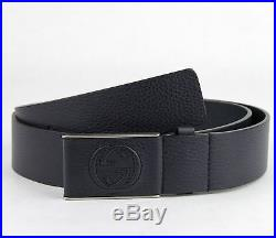 $495 New Gucci Men's Navy Blue Leather Belt With Leather Buckle 368188 4009