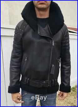 $5000 New Shearling Leather MCM Bomber Motorcycle jacket + Versace tie S 38 48
