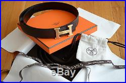 £585 Authentic Hermès 32mm Belt Coffee Brown Togo Gold Brushed Buckle size 80