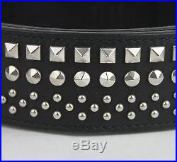 $725 New Gucci Men's Black Studded Leather Belt with Silver Buckle 387040 1000