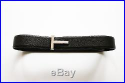 $790 NEW TOM FORD Silver T Buckle Brown Soft Pebbled Leather Belt 34 US 85 CM