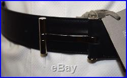$840 New Authentic Tom Ford T Buckle Silver Black Leather Belt Size 32