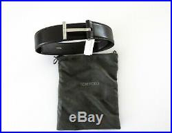 $840 TOM FORD Brown Calf Leather T Buckle Icon Belt Size 34 US 85 CM