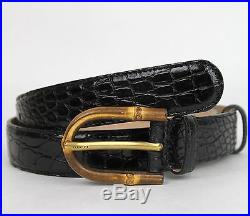 $895 New Authentic GUCCI Mens Black Crocodile Belt Bamboo Buckle 312405 1000