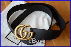 AUTHENTIC GUCCI MARMONT BELT GOLD GG BUCKLE BLACK LEATHER SIZE 80 fits 26-28