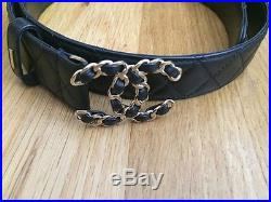 Authentic Men's Chanel Black Quilted Lambskin Belt With CC Buckle 38