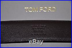 AUTHENTIC NEW TOM FORD BROWN T BUCKLE PALLADIUM BELT, size 115/46