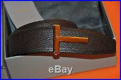 0f46dab8dcb Authentic New Tom Ford T Icon Gold Buckle Reversible Leather Belt ...