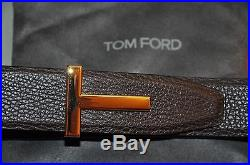 Authentic New Tom Ford T Icon Gold Buckle Reversible Leather Belt, 100/40