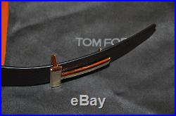 Authentic New Tom Ford T Icon Gold Buckle Reversible Leather Belt