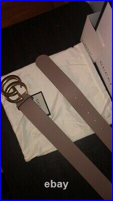 AUTHENTIC brass dusty pink gucci belt with gold GG buckle 26-28 waist or 80cm