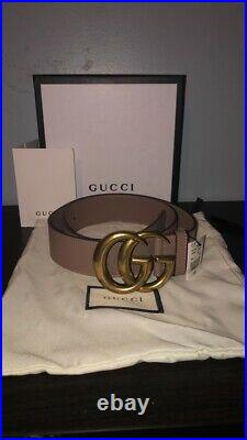 AUTHENTIC brass dusty pink gucci belt with gold GG buckle 28-30 waist or 85cm