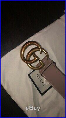 AUTHENTIC brass dusty pink gucci belt with gold GG buckle 30-32 waist or 90cm