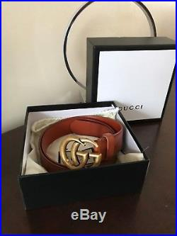 AUTHENTIC brown Gucci leather belt with'Double G' buckle. Made in Italy