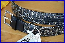 AUTH GOYARD BELT MONOGRAM LEATHER BLACK SZ 100 SILVER black BUCKLE 34-36