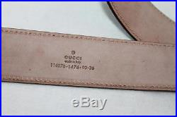 AUTH Gucci Unisex Leather Belt With Interlocking G Buckle 90/36