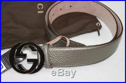 AUTH Gucci Unisex Leather Belt With Interlocking G Buckle 95/38