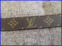 AUTH Louis Vuitton Unisex Belt in Classic LV Monogram with silver buckle 38/ 95