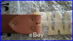 A BATHING APE(BAPE) MEN'S NUDE LEATHER BELT withGOLD BUCKLE. L BRAND NEW AUTHENTIC