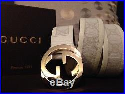 All White Gold Buckle Leather Gucci Belt 95cm 38in in Fits 32-23 Mens Waist