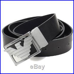 Armani Jeans Mens Black Leather 3 Buckle Belt with Gift Packaging One Sz