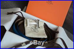 Auth 32mm Hermès Belt BLUE GRAY Silver Brushed H Buckle Herme size 100