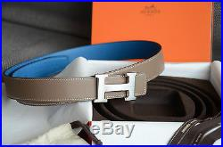Auth 32mm Hermès Belt BLUE GRAY Silver Brushed H Buckle Herme size 95