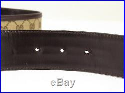 Auth GUCCI GG Buckle Belt Canvas & Leather Italy 18603208